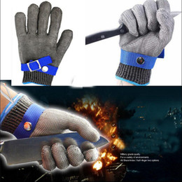 Metal gloves butchers online shopping - Safety Cut Proof Stab Resistant Gloves Durable Stainless Steel Metal Mesh Butcher Work Gloves Cut Resistant Gloves OOA4782