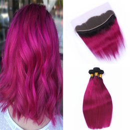 1b Pink Human Hair Australia - Indian Pink Human Hair Weaves with Lace Frontal Closure and Bundles 1B Hot Pink Ombre Straight Human Hair Extensions with Lace Frontal