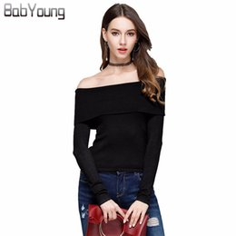 sexy ladies sweaters Canada - wholesale 2018 Autumn Suit-dress Slash Neck Knitting Strapless Sweater Stretch Sexy Unlined Upper Garment Ladies Sweater