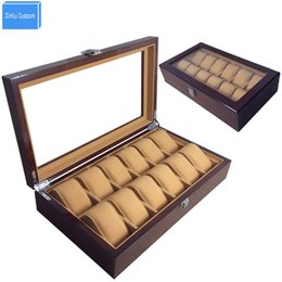 Big Storage Boxes Australia - Big Size Brown Wood 12 Compartment Velvt Pillow Watch Display Case Box Hour with Lock Window Wristwatch Storage, China Watch Boxes Custom