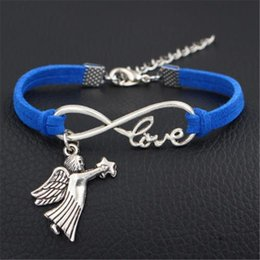 dark star leather NZ - 2018 Fashion Dark Blue Leather Suede Link Chain Bracelets Bangles Handmade Gift Charm Infinity Love Angel Wing Star Shape Jewelry Women Men