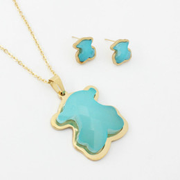 China New 9 color natural turquoise Agate stone gems charms Pendant Necklace and Earrings Jewelry Set Spain bear style Stainless Steel cheap gold earrings style suppliers