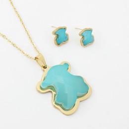 Nuevo color 9 turquesa natural, piedra de ágata, piedras preciosas, colgantes, collar y pendientes. Conjunto de joyas. Estilo de oso de acero inoxidable