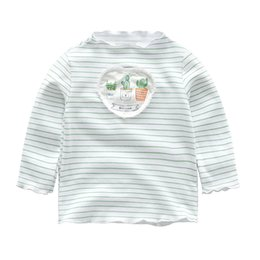 Long sLeeved shirts for boys online shopping - whosale Girls spring long sleeved top striped shirt T shirt for boys and girls casual clothes kids wear AA503TS