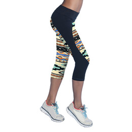 Discount spandex print leggings - 2017 Quick Drying Trousers Elastic Capris Yoga Sport Pants Printed Stretch Fitness Slim Running Clothes Cropped Leggings