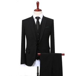 best male suits NZ - Custom Made 2018 Men Suits Wedding Suits Bridegroom Groom Plus Size 3 Pieces (Jacket+Vest+Pants) Slim Fit Formal Tuxedos Suit Male Best Man