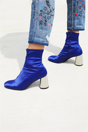 Faux Fur Booties Women Canada - Pony Heels Women Fashion Street Ankle Boots Satin Female Cat Walk Martin Boots Blue Runway Boots Chunky Spring Autumn Femal Roman Booties