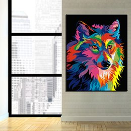 colorful home decor UK - DIY Painting By Numbers Kits HandPaint Abstract Oil Colorful Wolf Picture On Canvas Coloring Wall Art Craft Home Decor Framework