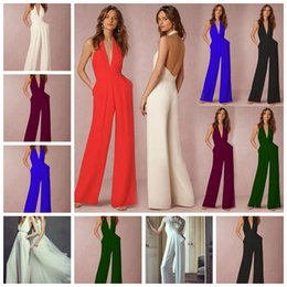Air Pants Australia - European fashion solid color sexy halter sleeveless V-neck air layer double pockets fold conjoined pants support mixed batch