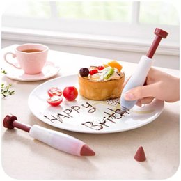 Syringe cake online shopping - Silicone Plate Pen Cake Dessert Decorators Baking Pastry Pen Tools Cream DIY Chocolate Icing Decorating Syringe New Decor Chocolate Pen