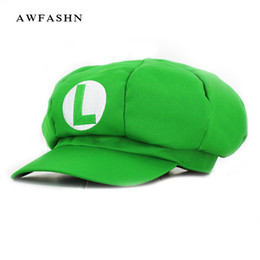 Cosplay Mario Red Australia - Anime Super Mario octagonal cap Cartoon Berets Cosplay Baseball Costume Letter M embroidery Luigi Bros Game Wholesale Bone