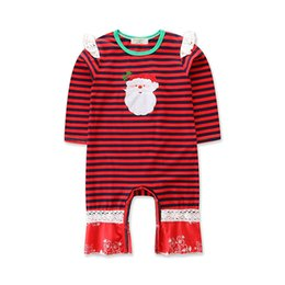 Christmas Clothes Australia - Wholesalers Baby Girls Clothing 12 months Father Christmas Costumes Cotton Baby Girl Red Striped Long Sleeve Jumpsuits Rompers for Babies