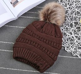 Knit girl hat online shopping - Kids pompom Trendy Hats Kids Knitted Fur Poms Beanie Winter Luxury Cable Slouchy Skull Caps Fashion Beanie Outdoor Hats KKA3780