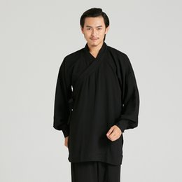 Discount chinese kung fu shirts - Summer New Breathable Men Tai Chi Kung Fu Set Chinese Traditional Morning Shao Lin Tang Suit Loose Solid Linen Shirt&pan