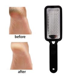 Venta al por mayor de Grandes escofina pie calloso Remover pedicura duradero eliminación piel de acero inoxidable duro pie de pulido Herramienta de Lima de Pie Cuidado de la Piel GGA211