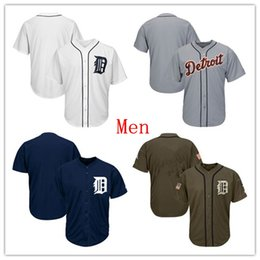 61f8612a5 Mens Tigers Baseball Team Jersey Blank Jersey No Name No Number White Navy  Blue Gray Grey Green Salute All Star Players Weekend