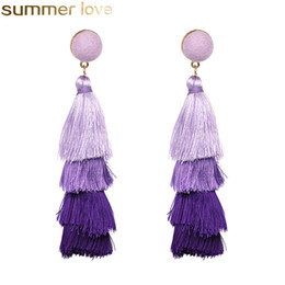 China Fashion 4 Layered Tassel Earrings Wool Multi Color Earrings Bohemian Fringe Drop Long Earrings Jewelry For Women Girls Wholesale supplier gold fringe earrings wholesale suppliers