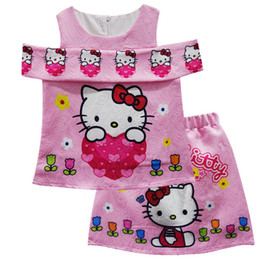 3e75a8cd2 Girls Hello Kitty A-Line Dress Skirt Children 3 Color Cartoon Print  Sleeveless Off Should Dresses Kids Clothing Cosplay Free Shipping B0164