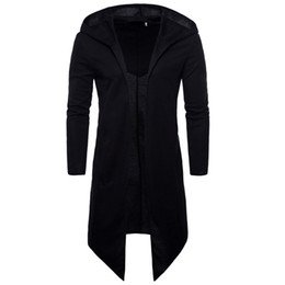 long black fitted cardigan UK - Long Black Trench Coat Men Spring Fashion Casual Mens Cardigans Windbreaker Slim Fit Plus Size Gothic Men Nice Overcoat Punk