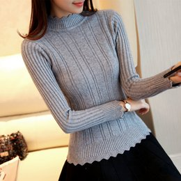 Wholesale OHCLOTHIN new Fashion half Korean women knitted sweater slim petal collar shirt Elastic Bottoming Turtleneck Twist PulloverY1882402