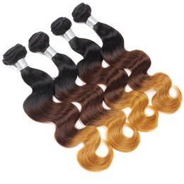 brazilian virgin hair weft ombre 2019 - 10A Grade Ombre 4Bundles Body Wave Peruvian Hair Malaysian Body Wave Human Hair Bundles Weaves Indian Virgin Hair Brazil