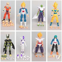 Discount movable doll joints - 8pcs Lot Toy Anime Dragon Ball Z Doll Action Figure Goku Piccolo DBZ Vegeta Gohan Super Saiyan Joint Movable 12cm