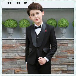 tuxedos for kids Australia - Wedding Men Suits for Flower Boy Children Party Suit Black Kids Blazers 3 Pieces Jacket Pant Vest Satin Shawl Lapel Groomsmen Wear