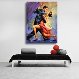 original seascape oil painting NZ - Fine Art Oil Painting Temptation of Tango Couple dancing tango original art Canvas wall Pictures for Living Room Decor No Framed