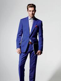 Wholesale royal blue coat white pant resale online - Royal Blue Latest Coat Pant Designs Men Suits Wedding Slim Fit Tuxedos Men Suits Wedding Suit Best men Groom Piece Jacket Pants