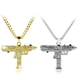 $enCountryForm.capitalKeyWord Australia - Gold Necklace Uzi Gun Pendant Necklace Men Alloy Full Crystal Bling Submachine Chain Hip Hop Cyclist Accessories Male Jewelry