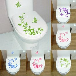 Discount self stick flower decals - Butterfly Flower toilet stickers wall sticker wc wall stickers bathroom Accessories home decorationtoilet decals salle d