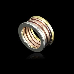 Rose Gold Cluster Engagement Rings Australia - Fashion Titanium Stainless Steel Elastic Multiwall 3 layer Rings, Mixed Yellow Gold Rose Gold  Silver 3 Colors Women Men Jewelry