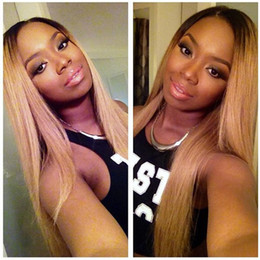 Indian Remy Glueless Full Lace Wigs NZ - #1B 27 Honey Blonde Ombre Virgin Indian Remy Lace Front Human Hair Wigs with Baby Hair 130% Density Straight Glueless Full Lace Wigs