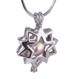 gold flower design pendant for necklace UK - Silver Flower Star Charms Pendants Jewelry New style Fashion design For Woman Hollow out Cage PendantP14