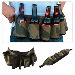 drink belt NZ - OUTAD 6 Packs Party Hiking Camping Beer bag Portable Soda Drink Beverage Can Wine Bottle Holster with Waist Belt Drop Shipping