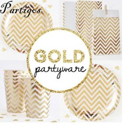 $enCountryForm.capitalKeyWord NZ - 21pcs gold silver Disposable Chevron Party Tableware Sets Paper Plates Cups for Birthday Bridal Shower Children Party Decoration