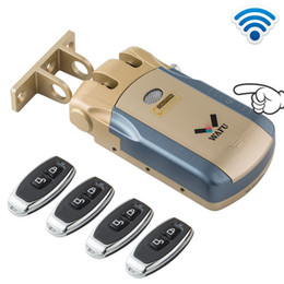 $enCountryForm.capitalKeyWord Australia - Keyless Entry Electronic Remote Door Lock Wireless 315mhz Invisible Intelligent Lock With 4 Remote Keys Smart Home Security Control