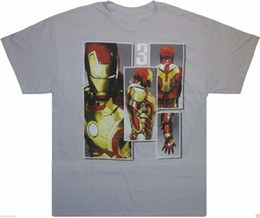 men superheroes t shirts Canada - Marvel: 'Iron Man 3 Profile Picture Colage' Comic Book Superhero T-Shirt {LARGE} Short Sleeve T shirt Cotton T Shirts top tee