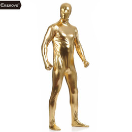 $enCountryForm.capitalKeyWord Australia - Ensnovo Men Lycra Nylon Blue Shiny Metallic Zentai Suits Spandex Full Body One Piece Tights Custom Skin Cosplay Costume Bodysuit