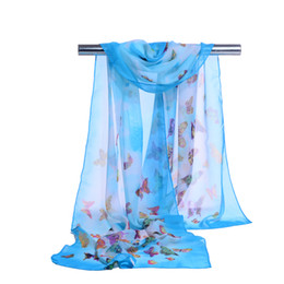 Chiffon butterfly sCarf shawl online shopping - 2018 New chiffon scarf Butterfly print women s muslim lady spring and autumn scarf patterns cape shawl wrap Summer Beach Cover