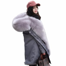 Discount pink fox coat - Women Fox Fur Coat 2018 Winter New Warm Pink Lining Suede Fur Camo Thick Jacket Hooded Collar Parka Plus Size Outerwear
