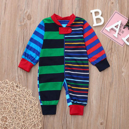 Jumpsuit matching online shopping - Stripe Family Matching Outfits Patchwork Cotton Blends Clothes Elastic Sewing Straight Tube Pants Casual Home Suits Baby Button Jumpsuit
