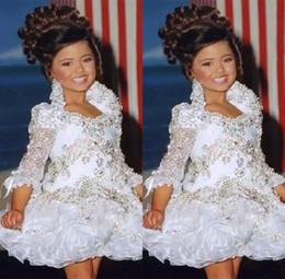 Girls white short sleeve online shopping - Glitz Pageant Dresses For Girls Little Girl Gowns Sleeve Beads Crystal Rhinestone Ruffles Cupcake Flower Girl Dress