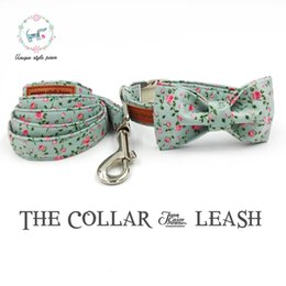 Discount personalized cat collars - the pretty rose collar and leash set with bow tie matel buckle dog &cat necklace and dog leash pet accessaries