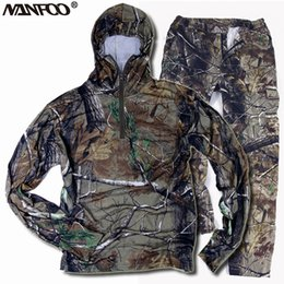 ae3f574599c09 New Summer Autumn Hunting Fishing Camouflage Suits Breathable Cotton Bionic  Camo Outdoor Shooting Costume Set Hooded Jacket Pant