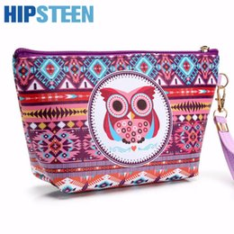 $enCountryForm.capitalKeyWord Canada - HIPSTEEN Portable Cute Women Cosmetic Makeup Bag Travel Organizer Small Owl Pattern Cosmetics Make Up Bag For Women