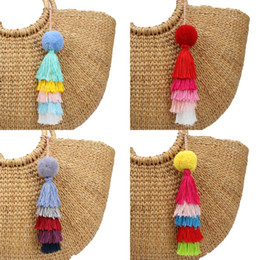 Discount keychains for women handbags - 1pc Women Handbag Charms Pompons Keychains With Colorful Tassel Keyring Gift Rainbow Jewelry For Bohemian