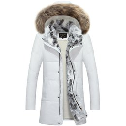 53600a773159 2019 2019 New Men White Down Jacket with 100% Real Raccoon Fur Trim Hood  Winter Warm Over Size Outwear