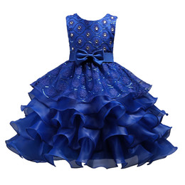 Chinese  Lotus Leaf Dress skirt for Girls Sequins Princess Dresses with Big Bow Diamonds Embroidered Flowers 3-15T manufacturers