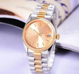 Venta al por mayor de 38 MM Relojes para hombres Presidente de lujo Día-Fecha Diamantes Cristal de zafiro Número de oro Acero inoxidable Movimiento automático Barrido mecánico